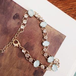 Sage + Rhinestone Bracelet